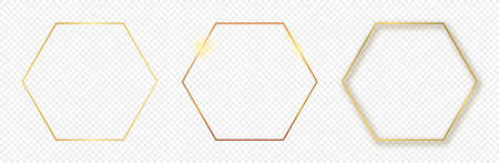 Set of three gold glowing hexagon frames isolated on transparent background. Shiny frame with glowing effects. Vector illustration. 向量圖像