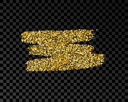 Hand drawn ink spot in gold glitter. Gold ink spot with sparkles isolated on dark transparent background. Vector illustration