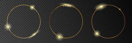 Set of three gold glowing circle frames isolated on dark transparent background. Shiny frame with glowing effects. Vector illustration.
