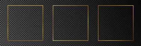 Set of three gold glowing square frames isolated on dark transparent background. Shiny frame with glowing effects. Vector illustration.