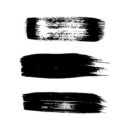 Black grunge brush strokes. Set of three painted ink stripes. Ink spot isolated on white background. Vector illustration 向量圖像