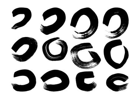 Black grunge brush strokes in circle form. Set of twelve painted ink circles. Ink spot isolated on white background. Vector illustration