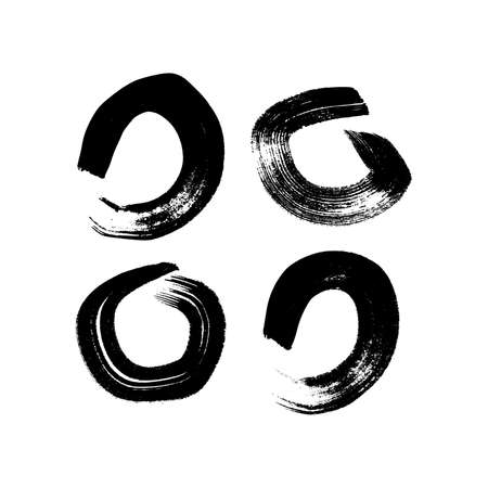 Black grunge brush strokes in circle form. Set of four painted ink circles. Ink spot isolated on white background. Vector illustration 矢量图像