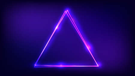 Neon double triangular frame with shining effects on dark background. Empty glowing techno backdrop. Vector illustration. 向量圖像