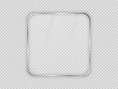 Glass plate in rounded square frame isolated on transparent background. Vector illustration. 矢量图像