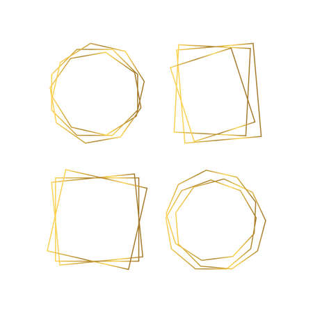 Set of four gold geometric polygonal frames with shining effects isolated on white background. Empty glowing art deco backdrop. Vector illustration.