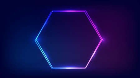 Neon double hexagon frame with shining effects on dark background. Empty glowing techno backdrop. Vector illustration.