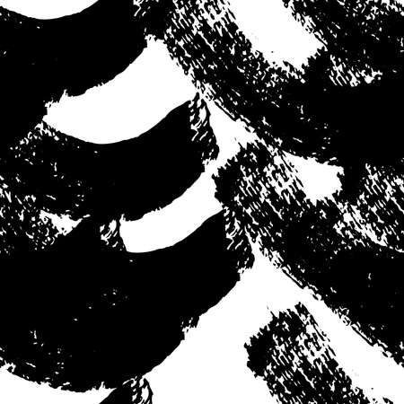 Seamless pattern with black brushstrokes in abstract shapes on white background. Abstract ink grunge texture. Vector illustration 向量圖像