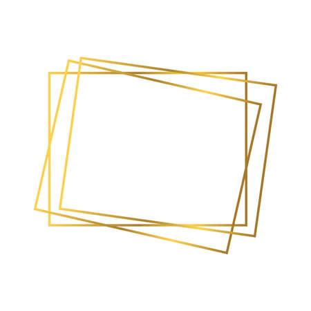 Gold geometric polygonal frame with shining effects isolated on white background. Empty glowing art deco backdrop. Vector illustration. 矢量图像