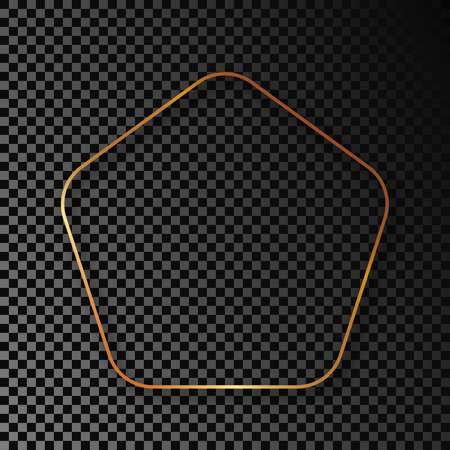 Gold glowing rounded pentagon shape frame with shadow isolated on dark transparent background. Shiny frame with glowing effects. Vector illustration. 矢量图像