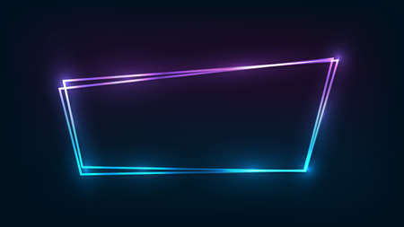 Neon double frame with shining effects on dark background. Empty glowing techno backdrop. Vector illustration.
