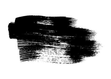 Black grunge brush stroke. Painted ink smear. Ink spot isolated on white background. Vector illustration