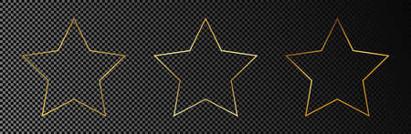 Set of three gold glowing star shape frames isolated on dark transparent background. Shiny frame with glowing effects. Vector illustration.
