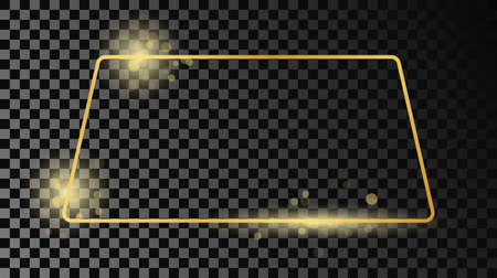 Gold glowing rounded trapezoid shape frame isolated on dark transparent background. Shiny frame with glowing effects. Vector illustration. 矢量图像
