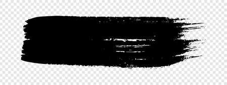 Black grunge brush stroke. Painted ink stripe. Ink spot isolated on transparent background. Vector illustration 矢量图像