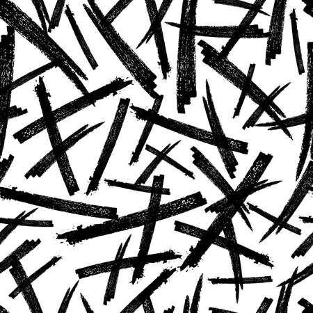 Seamless pattern with black pencil brushstrokes in abstract shapes on white background. Vector illustration