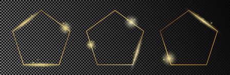 Set of three gold glowing pentagon shape frames isolated on dark transparent background. Shiny frame with glowing effects. Vector illustration. 矢量图像