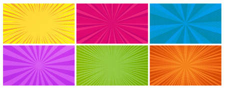 Set of six comic book pages backgrounds in pop art style with empty space. Template with rays, dots and halftone effect texture. Vector illustration
