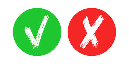 Hand drawn check and cross sign elements isolated on white background. Grunge doodle checkmark OK in green circle and X in red circle icons. Vector illustration
