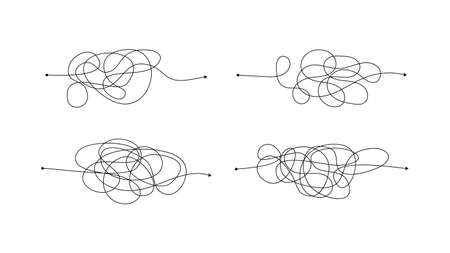 Set of four complex wrong way with messy lines. Black lines with a starting point and an arrow at the end isolated on white background. Vector illustration