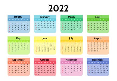 Calendar for 2022 isolated on a white background. Sunday to Monday, business template. Vector illustration 矢量图像