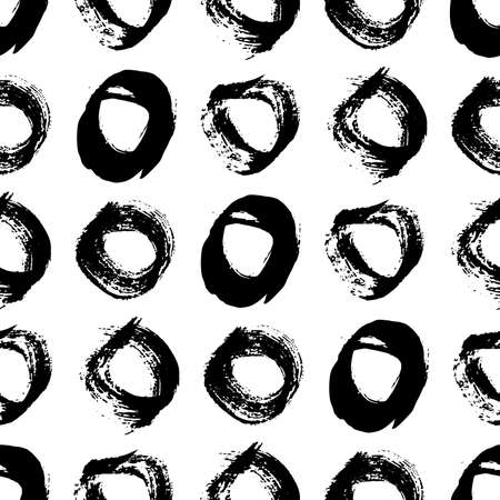 Seamless pattern with black sketch hand drawn brush scribble circles shape on white background. Abstract grunge texture. Vector illustration