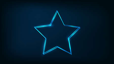 Neon double star frame with shining effects on dark background. Empty glowing techno backdrop. Vector illustration.