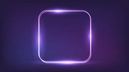 Neon double rounded square frame with shining effects on dark background. Empty glowing techno backdrop. Vector illustration. 矢量图像