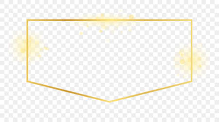 Gold glowing frame isolated on transparent background. Shiny frame with glowing effects. Vector illustration. 矢量图像
