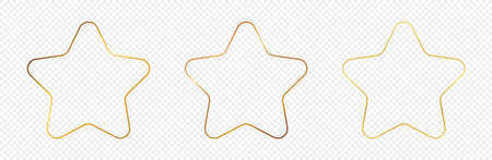Set of three gold glowing rounded star shape frames isolated on transparent background. Shiny frame with glowing effects. Vector illustration. 矢量图像