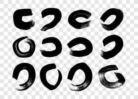 Black grunge brush strokes in circle form. Set of twelve painted ink circles. Ink spot isolated on transparent background. Vector illustration 矢量图像