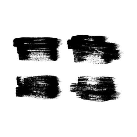 Set of four black grunge brush strokes. Painted ink smear. Ink spot isolated on white background. Vector illustration 矢量图像
