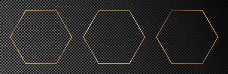 Set of three gold glowing hexagon frames isolated on dark transparent background. Shiny frame with glowing effects. Vector illustration.