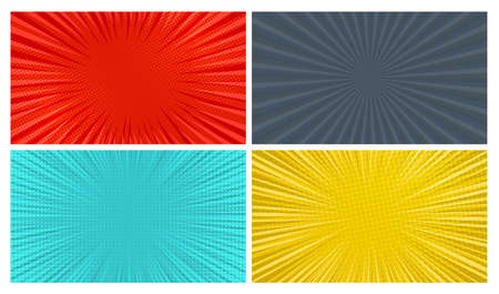 Set of four comic book pages backgrounds in pop art style with empty space. Template with rays, dots and halftone effect texture. Vector illustration 向量圖像