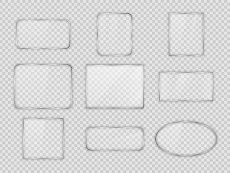 Set of glass plates in differents geometric forms on transparent background. Vector illustration.