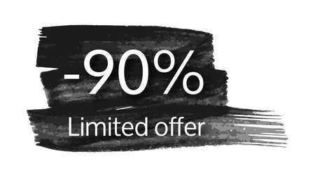 Limited offer banner on black brush stroke with a 90% discount. White numbers on black brush stroke on white background. Vector illustration