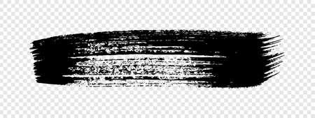 Black grunge brush stroke. Painted ink stripe. Ink spot isolated on transparent background. Vector illustration 向量圖像