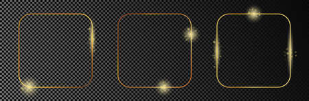 Set of three gold glowing rounded square frames isolated on dark transparent background. Shiny frame with glowing effects. Vector illustration. 矢量图像
