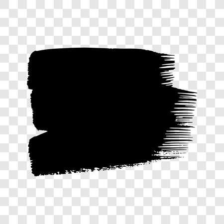 Black grunge brush stroke. Painted ink smear. Ink spot isolated on transparent background. Vector illustration