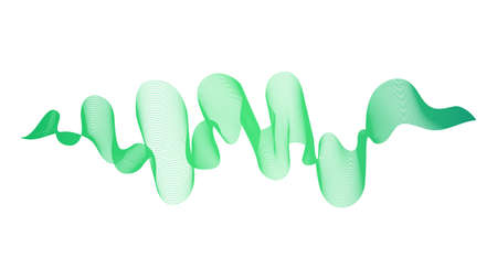 Abstract backdrop with green wave gradient lines on white background. Modern technology background, wave design. Vector illustration