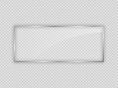 Glass plate in rectangle frame isolated on transparent background. Vector illustration.