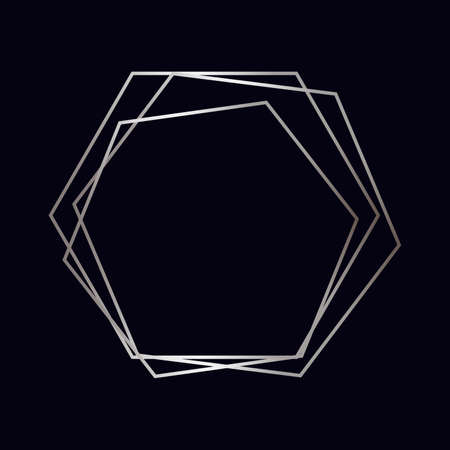 Silver geometric polygonal frame with shining effects isolated on dark background. Empty glowing art deco backdrop. Vector illustration.