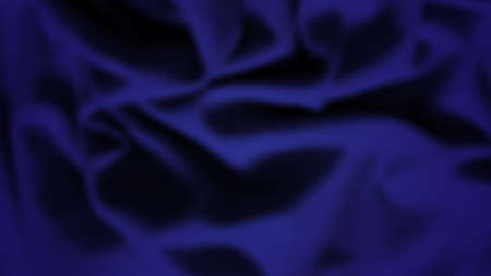 Abstract background with crumpled cloth. Dark blue realistic silk texture with empty space. Vector illustration Vetores