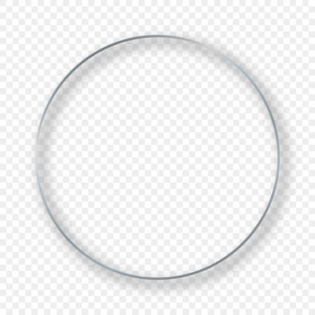 Silver glowing circle frame with shadow isolated on transparent background. Shiny frame with glowing effects. Vector illustration.