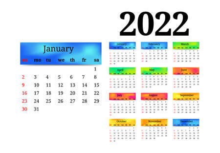 Calendar for 2022 with large January isolated on a white background. Sunday to Monday, business template. Vector illustration