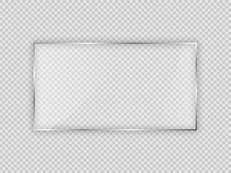 Glass plate in rectangular frame isolated on transparent background. Vector illustration. Vecteurs