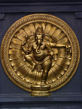 Wall carving of Lord Ganesha in Flushing New York photo