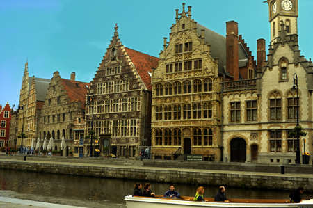 Front view of Ancient buildings in Ghent Belgium Stock Photo
