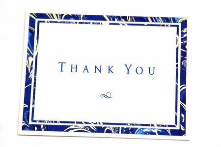written communication: Thank You Greeting card photographed on a white background Stock Photo