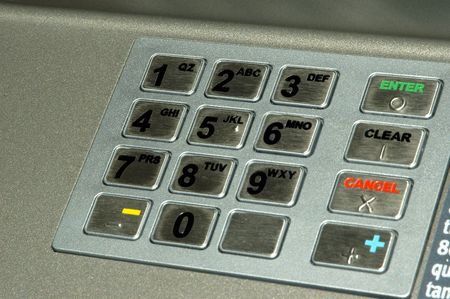 Close up shot of an ATM Key pad